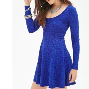 Forever 21 Blue Matelassé Skater Party Dress Long Sleeve